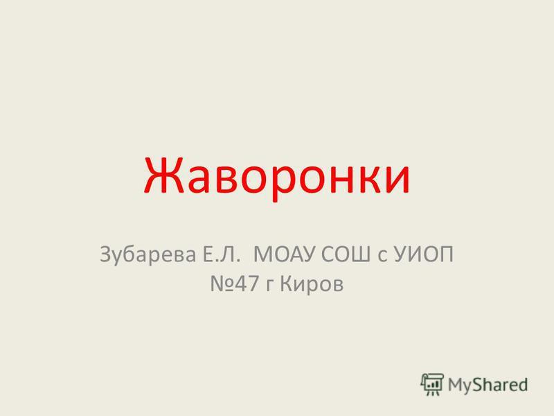 Жаворонки Зубарева Е.Л. МОАУ СОШ с УИОП 47 г Киров