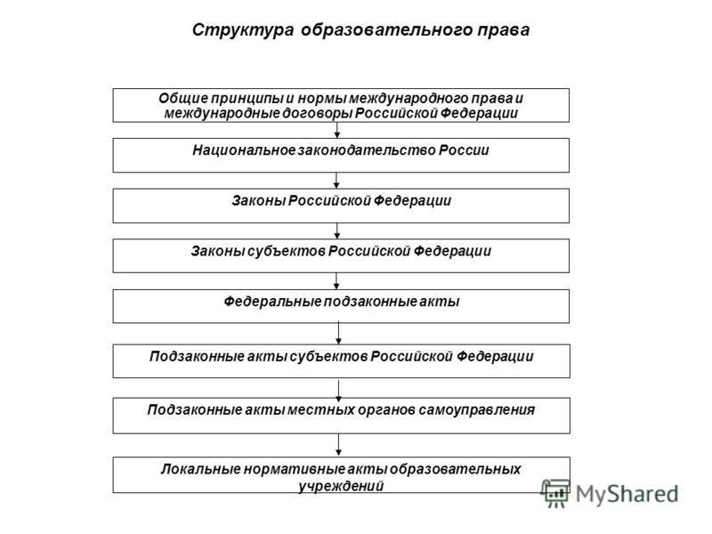 Общие принципы и нормы международного права и международные договоры Российской Федерации Национальное законодательство России Законы Российской Федерации Законы субъектов Российской Федерации Федеральные подзаконные акты Подзаконные акты субъектов Р