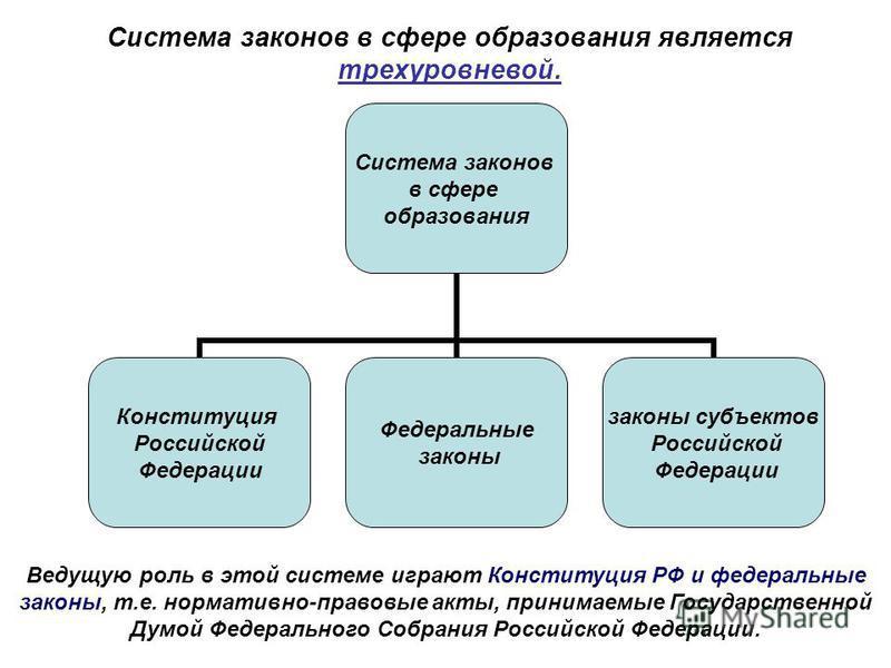Система законов в сфере образования является трехуровневой. Система законов в сфере образования Конституция Российской Федерации Федеральные законы законы субъектов Российской Федерации Ведущую роль в этой системе играют Конституция РФ и федеральные