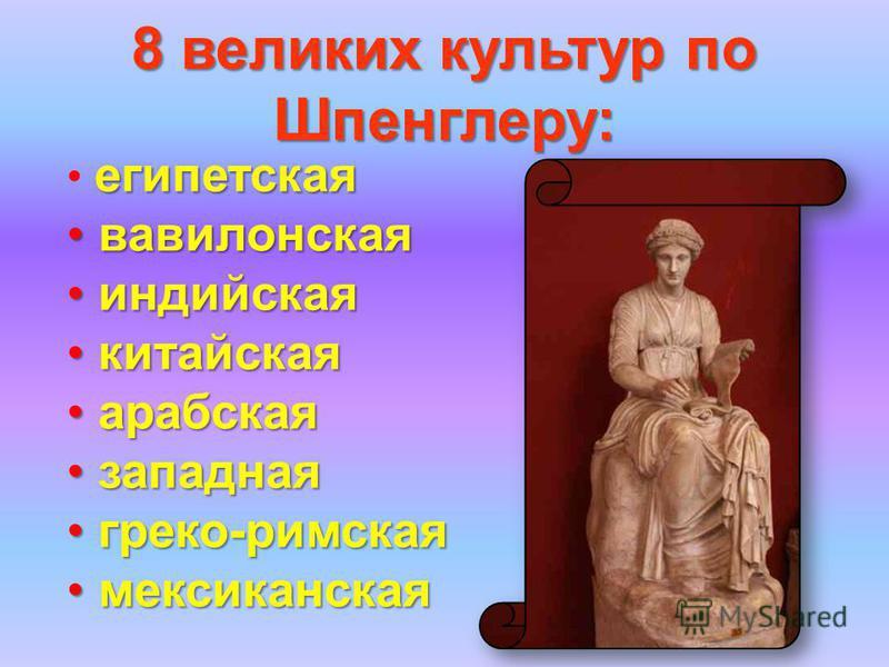 8 великих культур по Шпенглеру: египетская вавилонская вавилонская индийская индийская китайская китайская арабская арабская западная западная греко-римская греко-римская мексиканская мексиканская