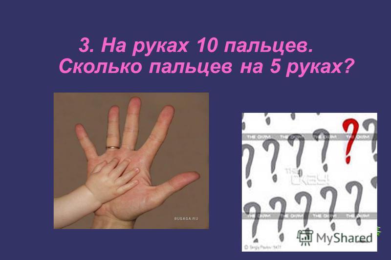 3. На руках 10 пальцев. Сколько пальцев на 5 руках?