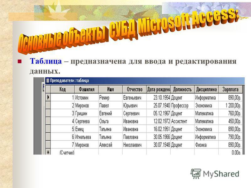 Таблица – предназначена для ввода и редактирования данных.