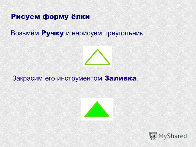 Рисуем форму ёлки Возьмём Ручку и нарисуем треугольник Закрасим его инструментом Заливка :