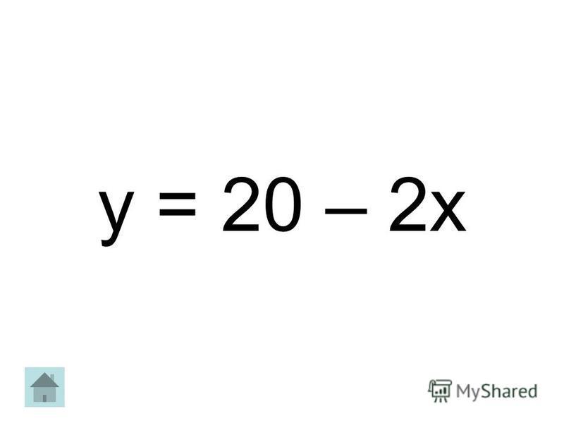 y = 20 – 2x