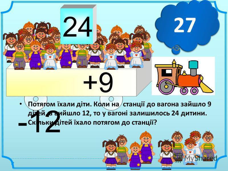 2424 +9 -12 Потягом їхали діти. Коли на станції до вагона зайшло 9 дітей, а вийшло 12, то у вагоні залишилось 24 дитини. Скільки дітей їхало потягом до станції ? 27