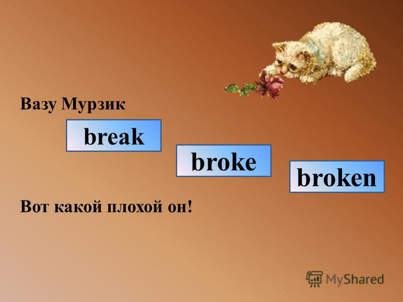 Вазу Мурзик Вот какой плохой он! break broken broke
