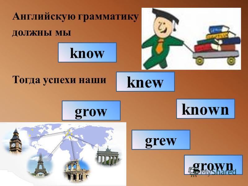 Английскую грамматику должны мы Тогда успехи наши know known knew grown grew grow