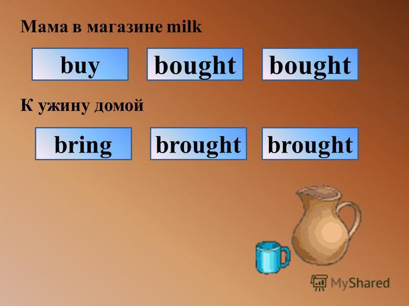 Мама в магазине milk К ужину домой buy bought brought bring