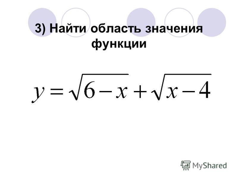 3) Найти область значения функции