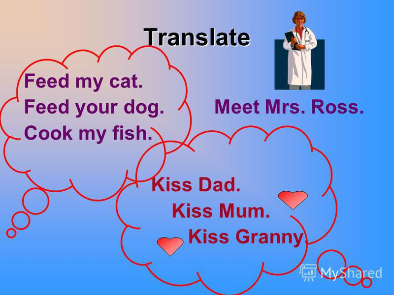 Translate Feed my cat. Feed your dog. Meet Mrs. Ross. Cook my fish. Kiss Dad. Kiss Mum. Kiss Granny.