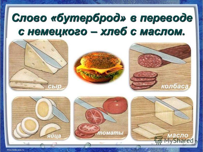 Слово «бутерброд» в переводе с немецкого – хлеб с маслом. сыр колбаса яйца томаты масло