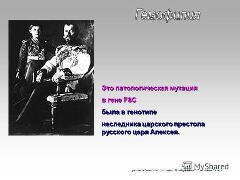 Это патологическая мутация в гене F8C была в генотипе наследника царского престола русского царя Алексея. учитель биологии и экологии БондаренковаТ.Н. экология 8 класс