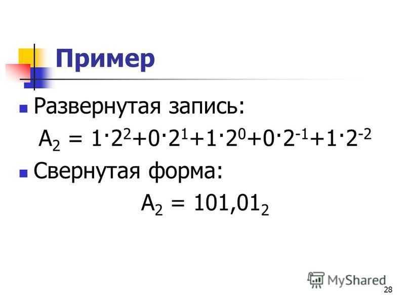 28 Пример Развернутая запись: А 2 = 1·2 2 +0·2 1 +1·2 0 +0·2 -1 +1·2 -2 Свернутая форма: А 2 = 101,01 2