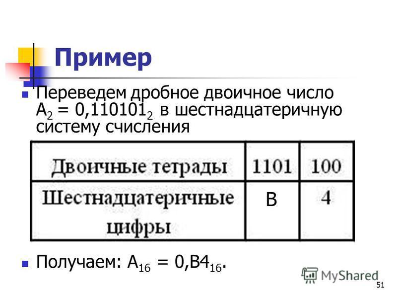 51 Пример Переведем дробное двоичное число А 2 = 0,110101 2 в шестнадцатеричную систему счисления Получаем: А 16 = 0,В4 16. В