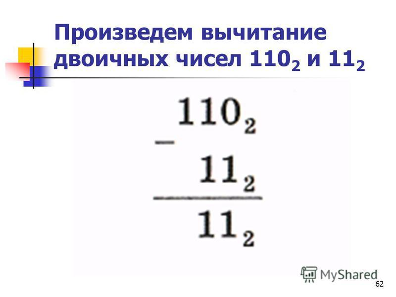 62 Произведем вычитание двоичных чисел 110 2 и 11 2