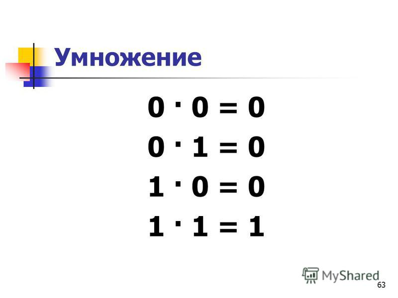 63 Умножение 0 · 0 = 0 0 · 1 = 0 1 · 0 = 0 1 · 1 = 1