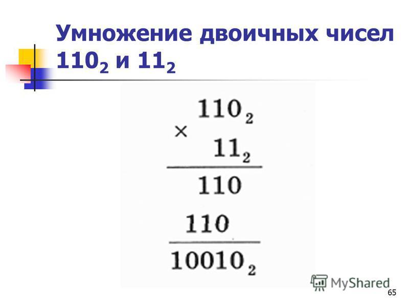 65 Умножение двоичных чисел 110 2 и 11 2