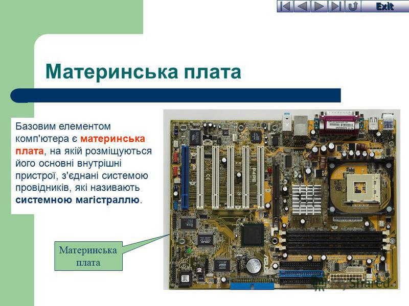 Exit Материнська плата Базовим елементом комп'ютера є материнська плата, на якій розміщуються його основні внутрішні пристрої, з'єднані системою провідників, які називають системною магістраллю. Материнська плата