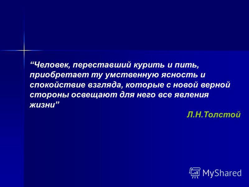 Человек, переставший курить и пить, приобретает ту умственную ясность и спокойствие взгляда, которые с новой верной стороны освещают для него все явления жизни Л.Н.Толстой