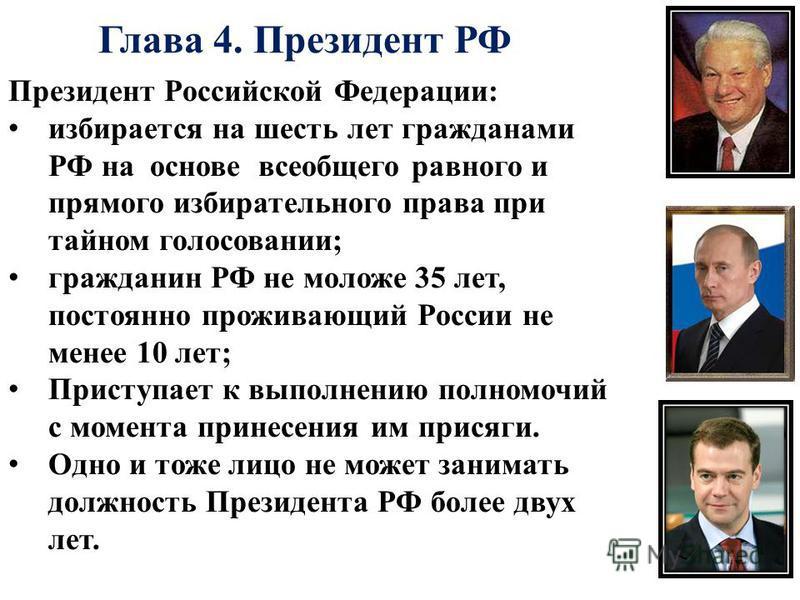 Глава 4. Президент РФ Президент Российской Федерации: избирается на шесть лет гражданами РФ на основе всеобщего равного и прямого избирательного права при тайном голосовании; гражданин РФ не моложе 35 лет, постоянно проживающий России не менее 10 лет
