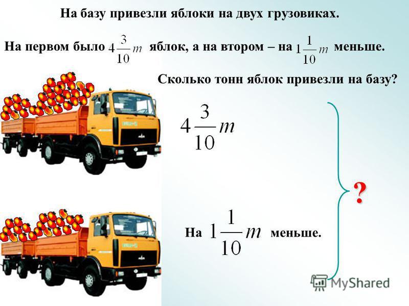На базу привезли яблоки на двух грузовиках. На первом было яблок, а на втором – на меньше. Сколько тонн яблок привезли на базу? На меньше. ?