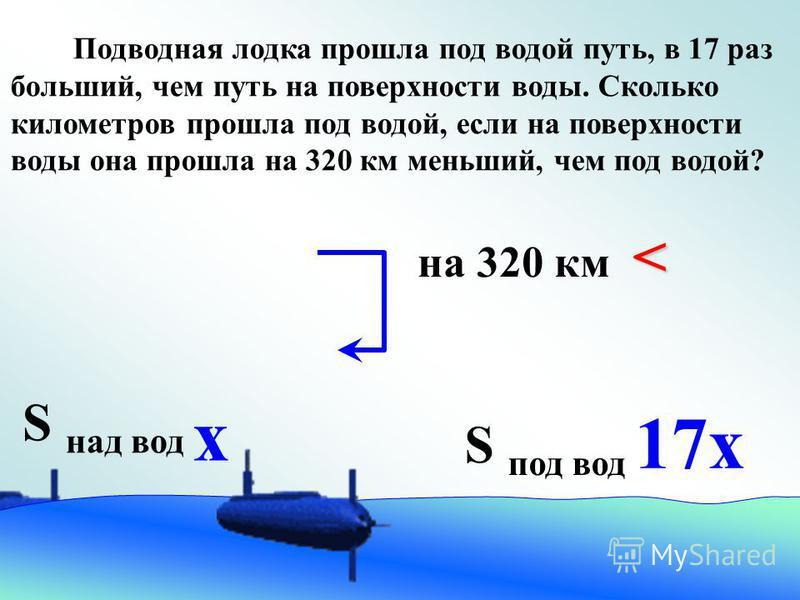 S под вод S над вод х 17 х < на 320 км < Подводная лодка прошла под водой путь, в 17 раз больший, чем путь на поверхности воды. Сколько километров прошла под водой, если на поверхности воды она прошла на 320 км меньший, чем под водой?