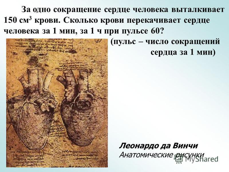 За одно сокращение сердце человека выталкивает 150 см 3 крови. Сколько крови перекачивает сердце человека за 1 мин, за 1 ч при пульсе 60? (пульс – число сокращений сердца за 1 мин) Леонардо да Винчи Анатомические рисунки