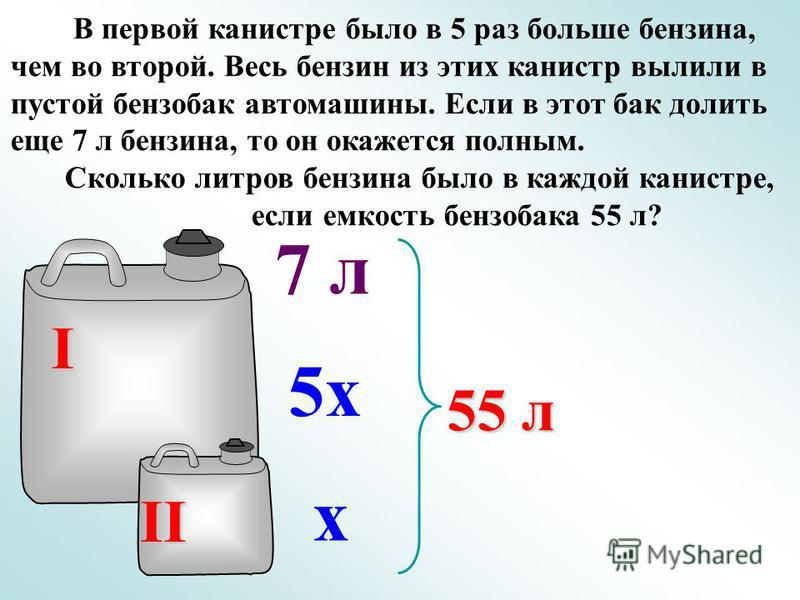 В первой канистре было в 5 раз больше бензина, чем во второй. Весь бензин из этих канистр вылили в пустой бензобак автомашины. Если в этот бак долить еще 7 л бензина, то он окажется полным. Сколько литров бензина было в каждой канистре, если емкость