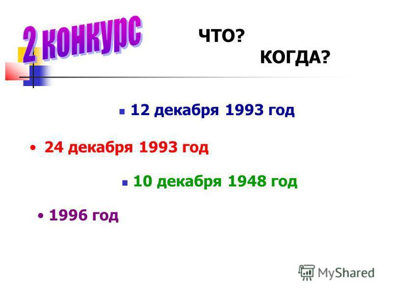 ЧТО? КОГДА? 12 декабря 1993 год 24 декабря 1993 год 10 декабря 1948 год 1996 год