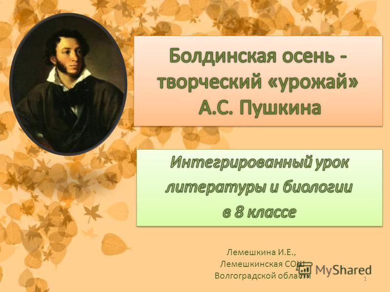 1 Лемешкина И.Е., Лемешкинская СОШ Волгоградской области