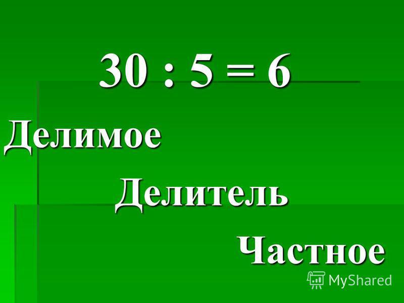 30 : 5 = 6 Делимое Делитель Делитель Частное Частное