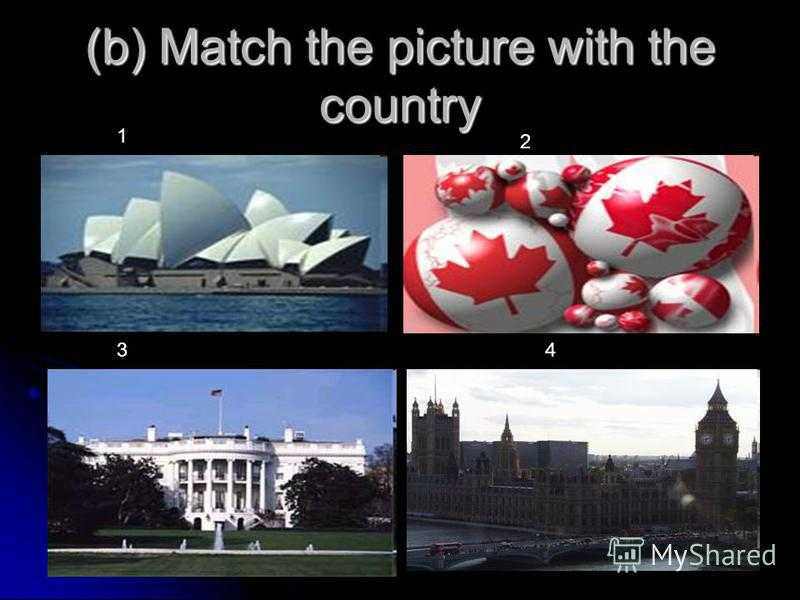 (b) Match the picture with the country 1 2 34