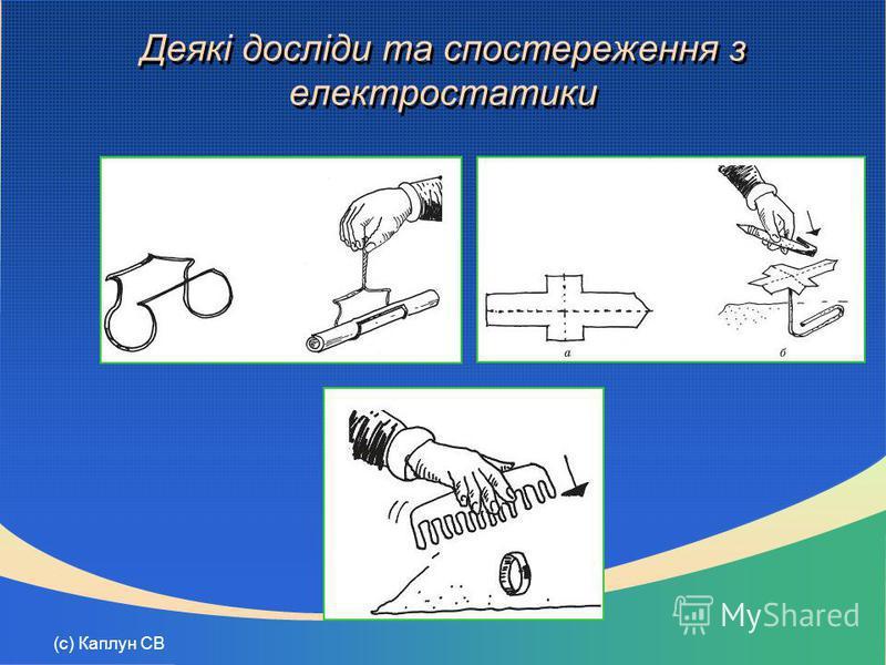 (с) Каплун СВ Деякі досліди та спостереження з електростатики