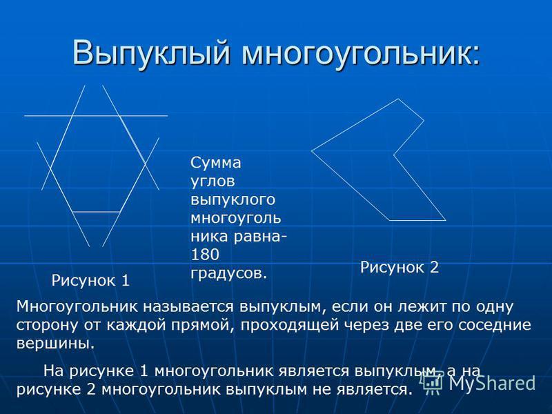 Выпуклый многоугольник: Рисунок 1 Рисунок 2 Многоугольник называется выпуклым, если он лежит по одну сторону от каждой прямой, проходящей через две его соседние вершины. На рисунке 1 многоугольник является выпуклым, а на рисунке 2 многоугольник выпук