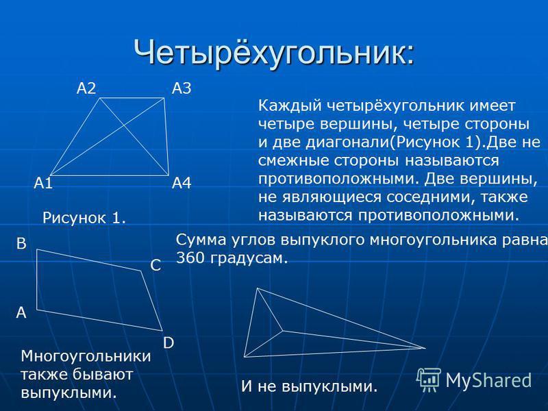 Четырёхугольник: A1 A2 A4 A3 Рисунок 1. Каждый четырёхугольник имеет четыре вершины, четыре стороны и две диагонали(Рисунок 1).Две не смежные стороны называются противоположными. Две вершины, не являющиеся соседними, также называются противоположными