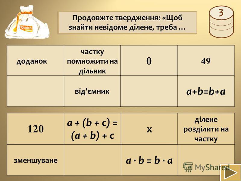 a + (b + c) = (a + b) + c доданок частку помножити на дільник 0 49 a+b=b+a відємник 120 х ділене розділити на частку зменшуване a · b = b · a Продовжте твердження: «Щоб знайти невідоме ділене, треба … 3
