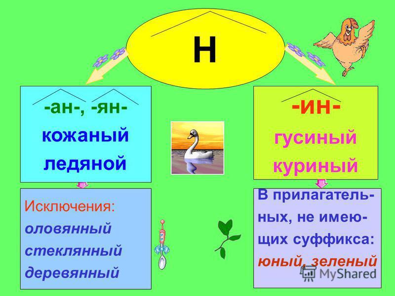-ан-, -ян- кожаный ледяной Исключения: оловяный стекляный деревьяный Н -ин- гусиный куриный В прилагательных, не имеющих суффикса: юный, зеленый