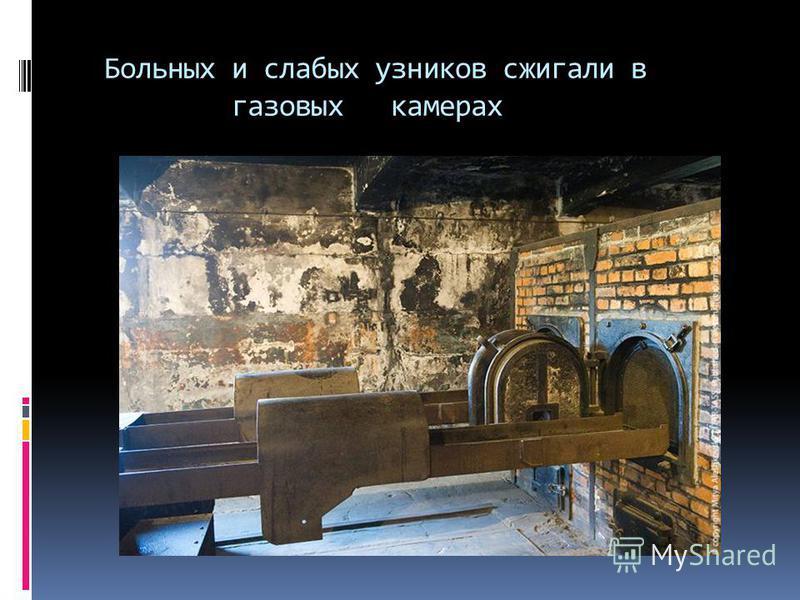 Больных и слабых узников сжигали в газовых камерах