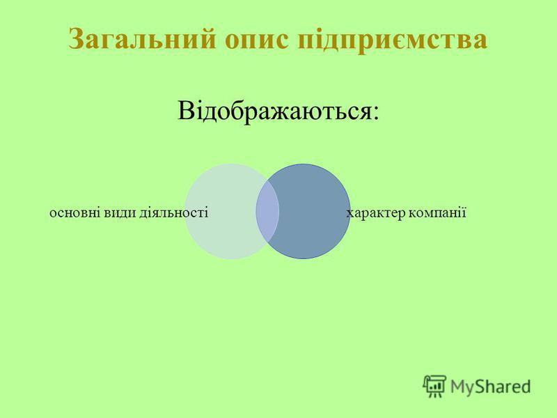 Загальний опис підприємства Відображаються: основні види діяльності характер компанії