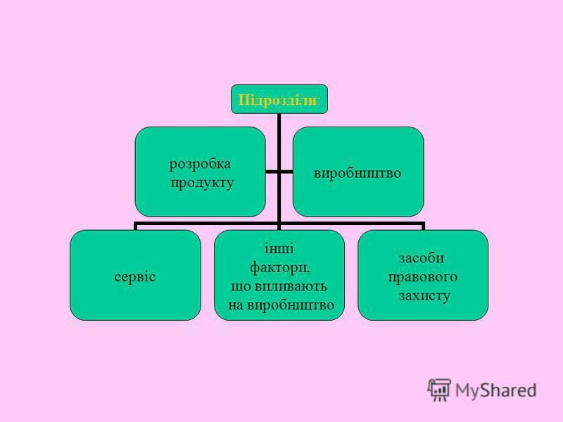 Підрозділи: сервіс інші фактори, що впливають на виробництво засоби правового захисту розробка продукту виробництво