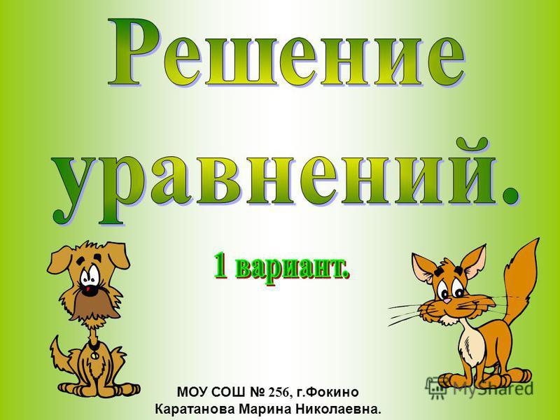 МОУ СОШ 256, г. Фокино Каратанова Марина Николаевна.