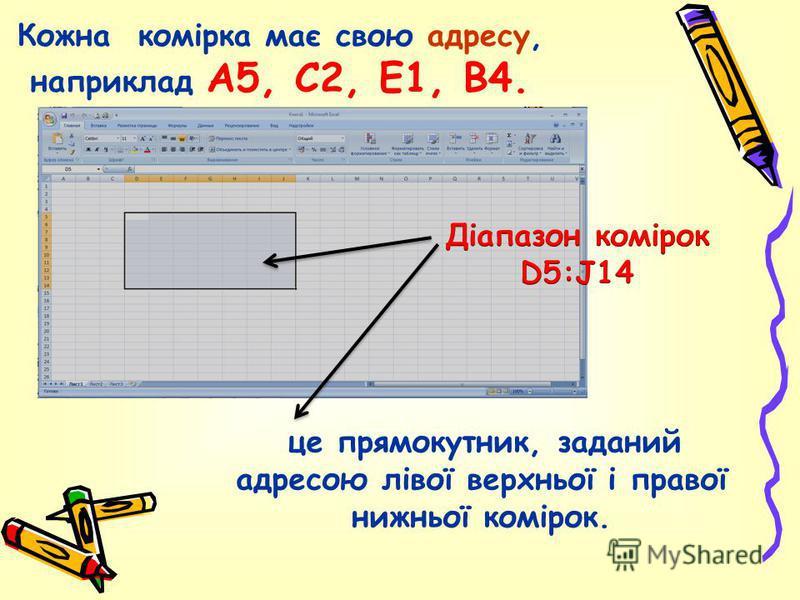 Кожна комірка має свою адресу, наприклад А5, С2, Е1, В4. це прямокутник, заданий адресою лівої верхньої і правої нижньої комірок.
