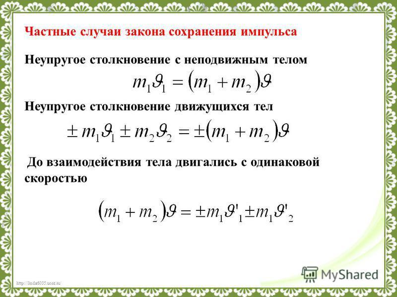 http://linda6035.ucoz.ru/ Частные случаи закона сохранения импульса Неупругое столкновение с неподвижным телом Неупругое столкновение движущихся тел До взаимодействия тела двигались с одинаковой скоростью