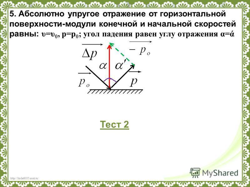 http://linda6035.ucoz.ru/ 5. Абсолютно упругое отражение от горизонтальной поверхности-модули конечной и начальной скоростей равны: υ=υ 0, p=p 0 ; угол падения равен углу отражения α=ά Тест 2