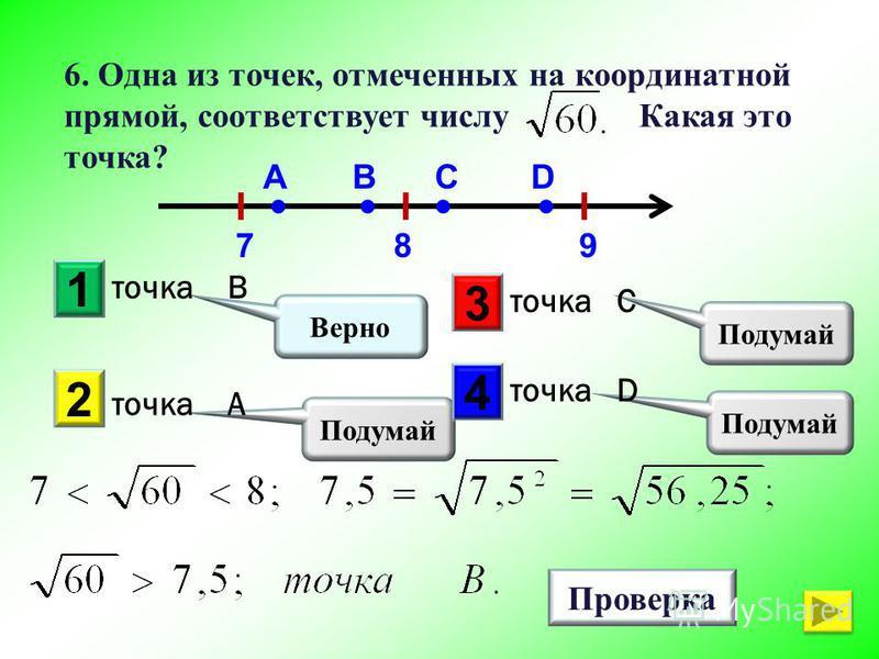 1 Подумай 2 3 4 Верно Проверка 6. Одна из точек, отмеченных на координатной прямой, соответствует числу Какая это точка? точка В точка A точка C точка D 789 ABCD