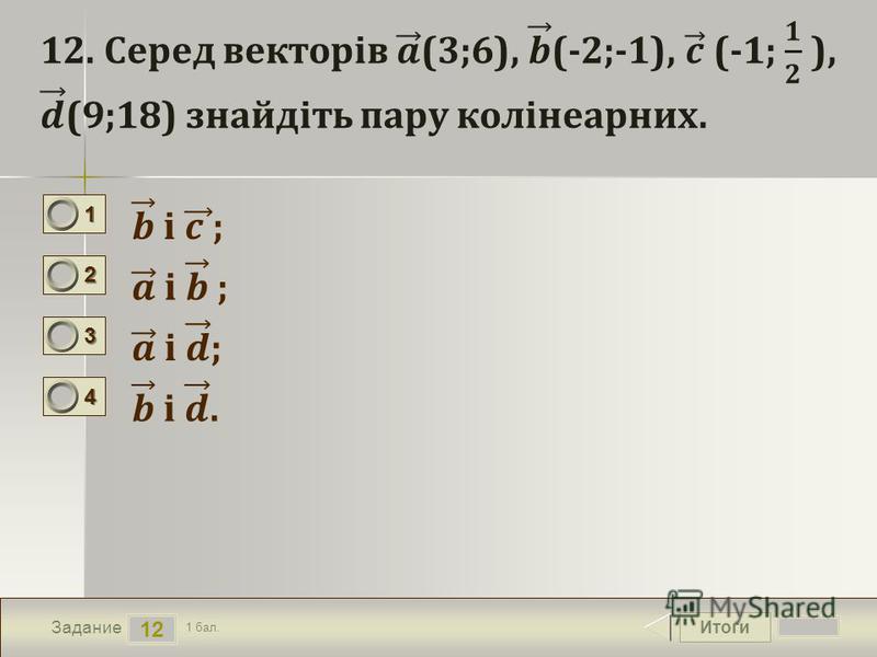 Итоги 12 Задание 1 бал. 1111 2222 3333 4444