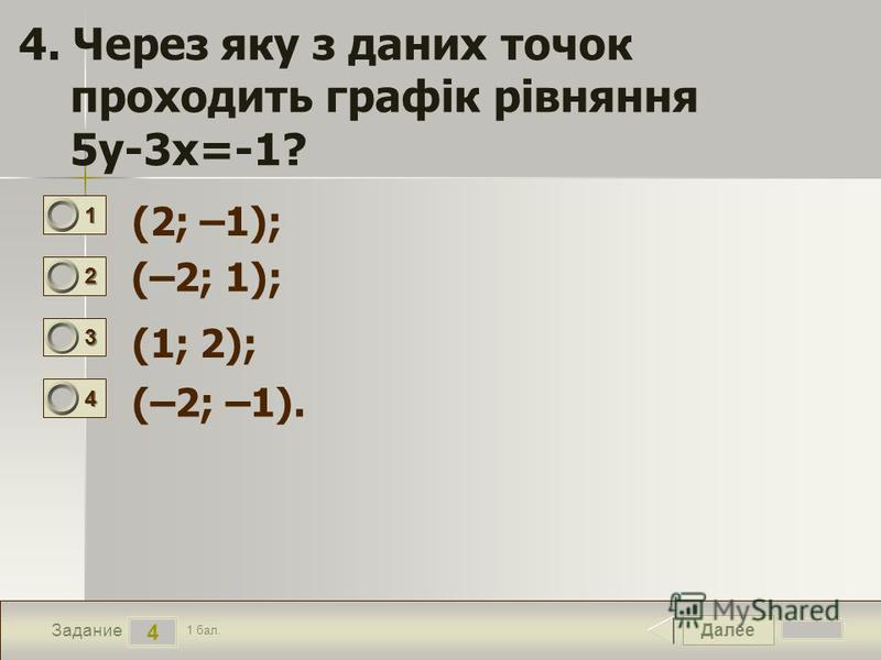 Далее 4 Задание 1 бал. 1111 2222 3333 4444 4. Через яку з даних точок проходить графік рівняння 5у-3х=-1? (2; –1); (–2; 1); (1; 2); (–2; –1).