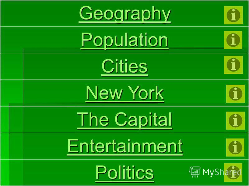 Geography Population Cities New York New York The Capital The Capital Entertainment Politics