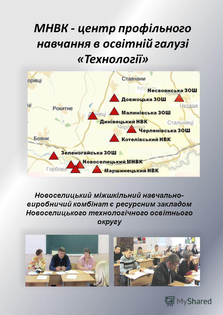 МНВК - центр профільного навчання в освітній галузі «Технології» Новоселицький міжшкільний навчально- виробничий комбінат є ресурсним закладом Новоселицького технологічного освітнього округу