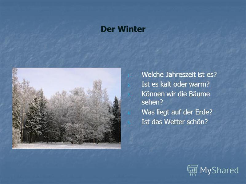 Der Winter 1. 1. Welche Jahreszeit ist es? 2. 2. Ist es kalt oder warm? 3. 3. Können wir die Bäume sehen? 4. 4. Was liegt auf der Erde? 5. 5. Ist das Wetter schön?